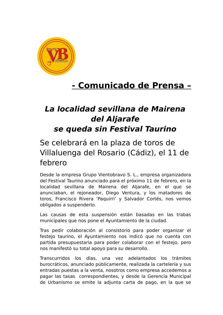 Comunicado Festival Taurino Mairena del Aljarafe.-1