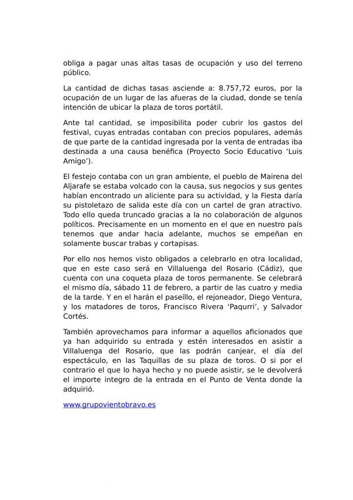Comunicado Festival Taurino Mairena del Aljarafe.-2