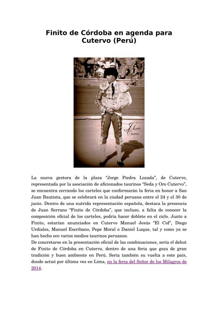 Finito de Córdoba en agenda para Cutervo-1