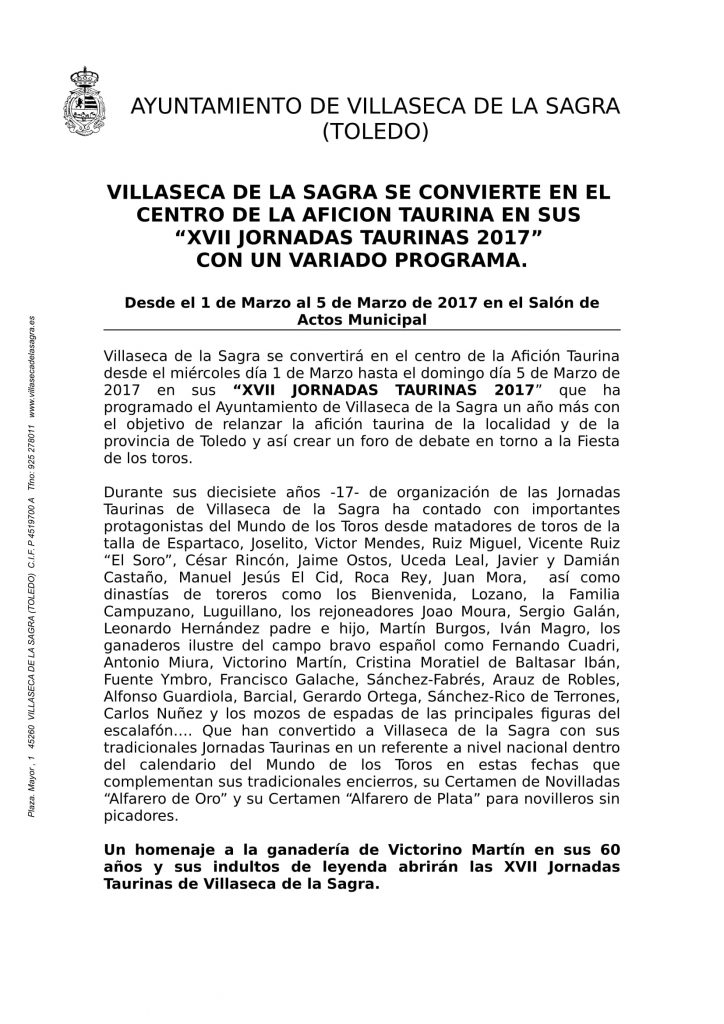 Villaseca de la Sagra centro de la afición taurina en las XVII Jornadas Taurinas 2017-1