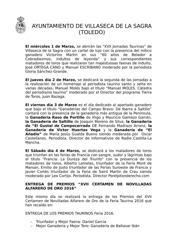 Villaseca de la Sagra centro de la afición taurina en las XVII Jornadas Taurinas 2017-2