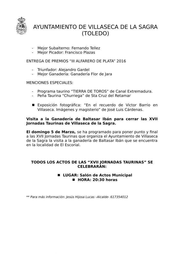 Villaseca de la Sagra centro de la afición taurina en las XVII Jornadas Taurinas 2017-3