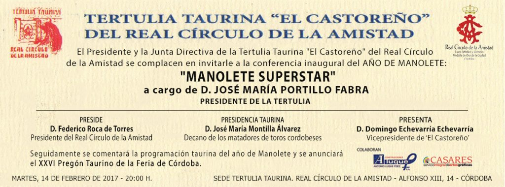 invitaciones castoreño MANOLETE SUPERSTAR